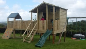 Two Storey Play House with Bridge and Tower